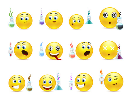 green smiley face: Young cute emoticons scientists with flasks in hand Illustration