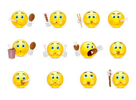 grimace: Set of yellow smiley who eat meat and various other foods