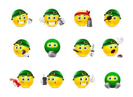 smilies: Set of yellow round smiles on the theme of war. Smilies in camouflage and with a variety of weapons in the hands of