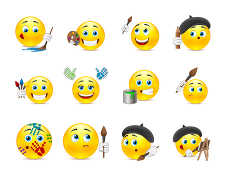 emoticons: Set of funny beautiful smiles with different objects for drawing