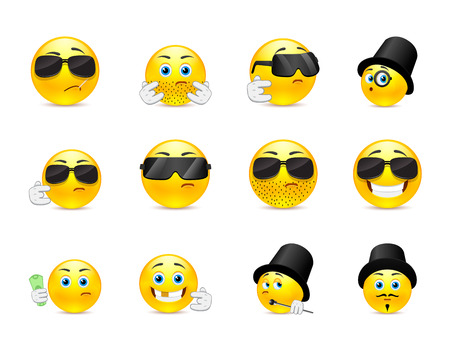 bandits: Set of scary and evil bandits emoticons with different objects Illustration