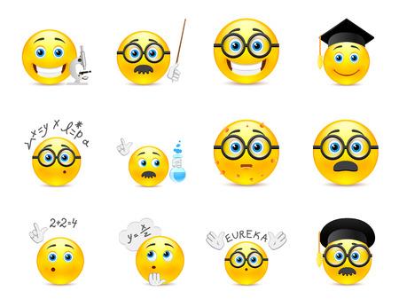 cara sonriente: Conjunto de sonrisas redondas de color amarillo sobre el tema de estudio. Smiley con gafas y otros objetos en las manos de