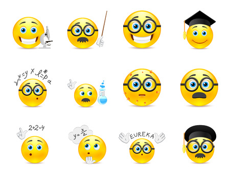 Set of yellow round smiles on the topic of study. Smiley with glasses and other objects in the hands of Vector