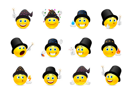 emoticons: Set of yellow smiley face on the theme of magic