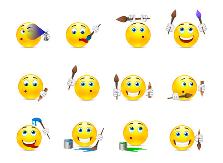 Set of funny beautiful smiles with different objects for drawing