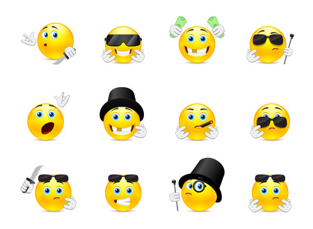 Set of scary and evil bandits emoticons with different objects Illustration
