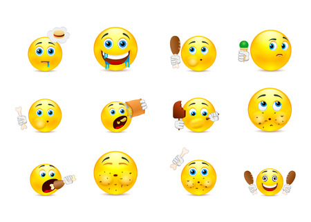 smiley face cartoon: Set of yellow smiley who eat meat and various other foods