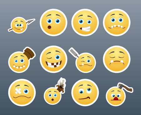 Beautiful happy and crazy yellow smiley in a small set of Vector