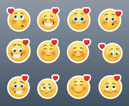 A wonderful set of smileys stickers on the theme of love Vector