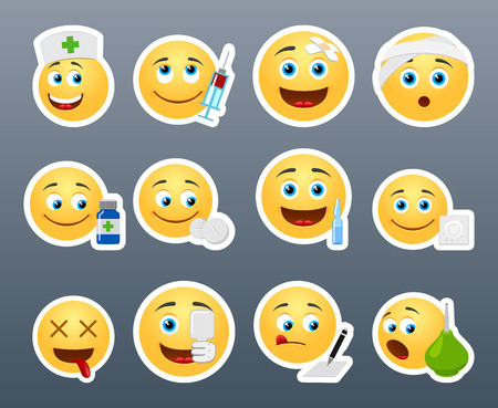 Funny and beautiful smiles in different devices on the topic Hospital