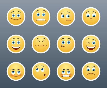 cara triste: Las m�s bellas pegatinas amarillas con diferentes emociones