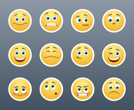 smiley icon: The most beautiful yellow stickers with different emotions
