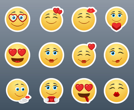 cartoon kiss: A wonderful set of smileys stickers on the theme of love