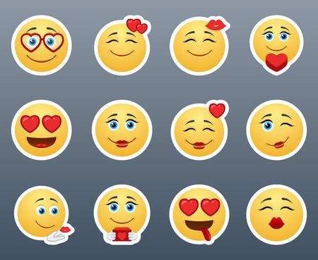 bacio: Un meraviglioso set di smileys adesivi sul tema dell'amore Vettoriali
