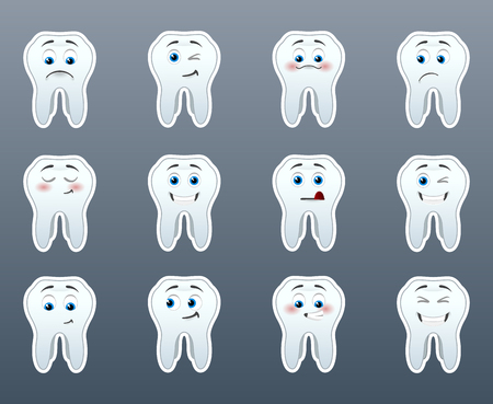 The most beautiful white teeth with different emotions in a small set of Vector