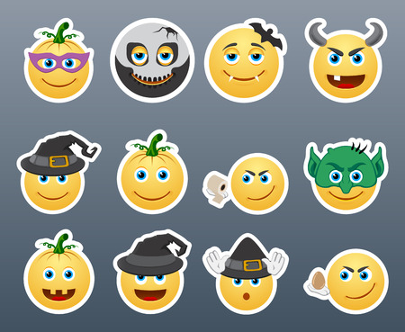emoticons: Set of funny and very scary emoticons are dressed for Halloween