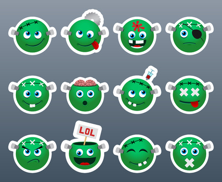 sore: Set of funny and very beautiful green stickers on the theme of Frankenstein Illustration
