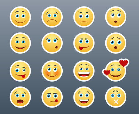 with face: Beautiful joyful and sad smiley yellow stickers in a small set of