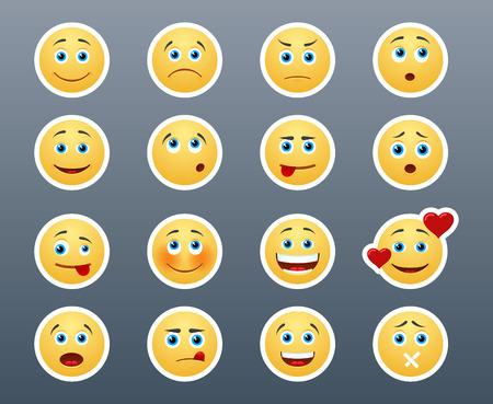 cara sonriente: Pegatinas amarillas hermosas alegres y tristes sonrientes en un pequeño conjunto de