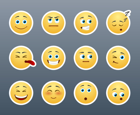 The most beautiful yellow stickers with different emotions Vector