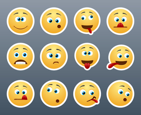 emoticons: Beautiful and funny yellow smiley in a small set of