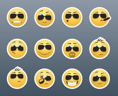 carita feliz caricatura: Smiley Muy grave y peligroso con las cerdas y gafas