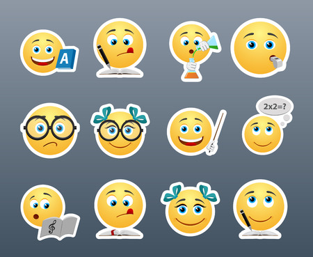 Funny and cute emoticons students in the classroom Vettoriali