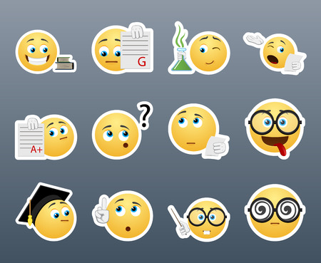 student teacher: Beautiful happy and very smart yellow smiley in a small set of