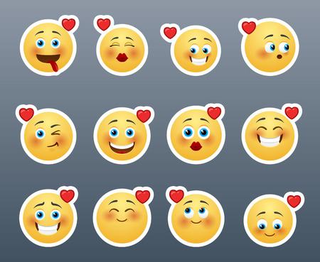 A wonderful set of smileys stickers on the theme of love Zdjęcie Seryjne - 38819000