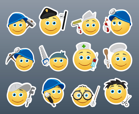installer: Smiley stickers of various professions gathered in a small set of