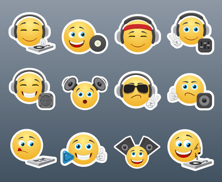 emoticons: The most beautiful smiles yellow with music inventory