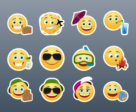 travelers: Funny and cute emoticons travelers with different things