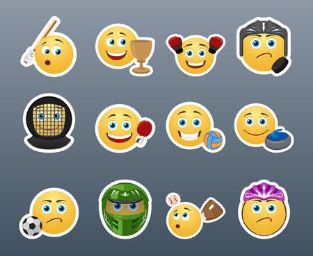 caras chistosas: Las m�s bellas pegatinas amarillas desempe�an diferentes deportes Vectores