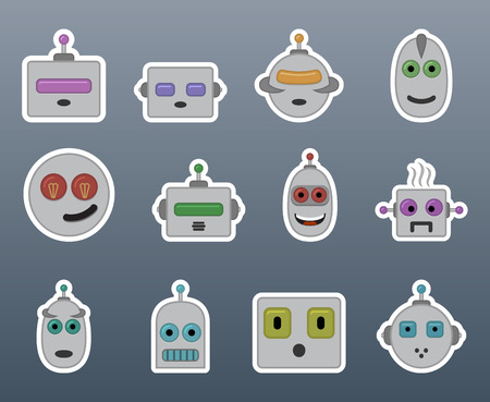 Stickers gray robots in a small set of Vector