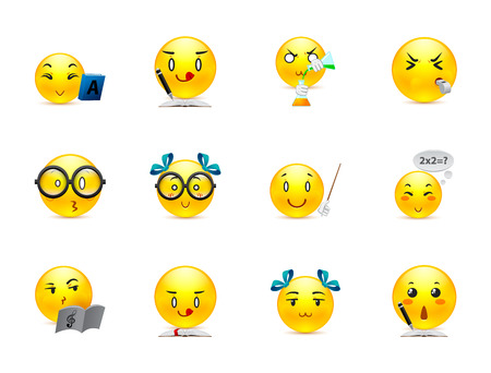 Funny and cute anime emoticons students in the classroom