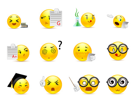 Beautiful happy and very smart yellow anime smiley in a small set of