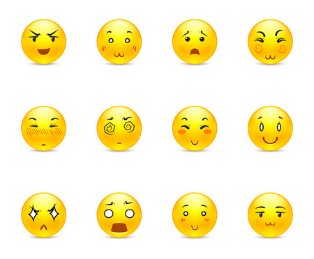 carita feliz: Hermosa feliz animado amarillo sonriente en un peque�o conjunto de Vectores