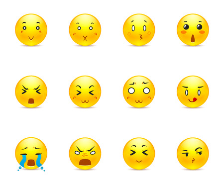 occhi tristi: Le pi� belle adesivi gialli con anime diverse emozioni Vettoriali