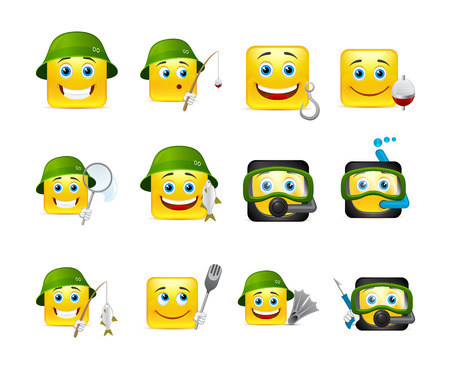 happy face: The most beautiful smiles yellow going fishing with fishing rods and various other invenratem Illustration
