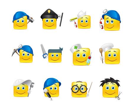 installateur: Smiley stickers van verschillende beroepen verzameld in een kleine set van Stock Illustratie