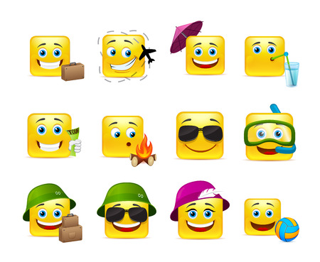 grimace: Funny and cute emoticons travelers with different things