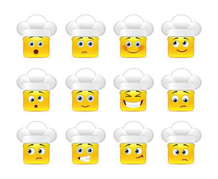 carita feliz caricatura: Hermosa amarillo sonriente feliz en mayúsculas blancas en un pequeño conjunto de