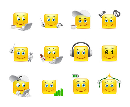 carita feliz caricatura: Animado divertido y hermoso sonríe sobre el tema de las tecnologías de TI
