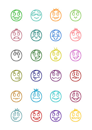 forelock: 24 icons set of smilies with differents emotions and colors