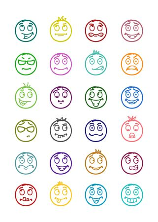 smilies: 24 icons set of smilies with different emotions and colors