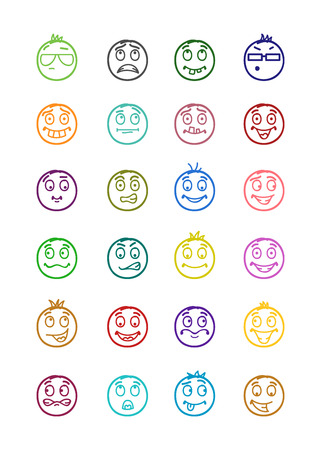 forelock: 24 icons set of smilies with different emotions and colors