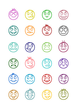 24 icons set of smilies with differents emotions and colors