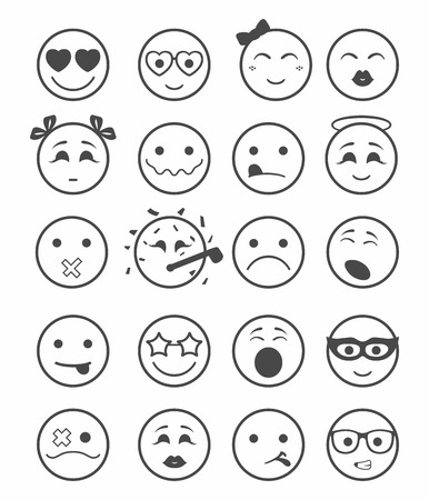kissing lips: 20 smiles icons set child girls and boys black and white color Illustration