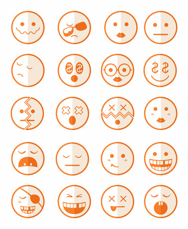gold rush: 20 characters icons set 2 in orange color on half face