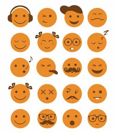 stick children: icons set 20 emotional and kids smiles in orange color vector Illustration